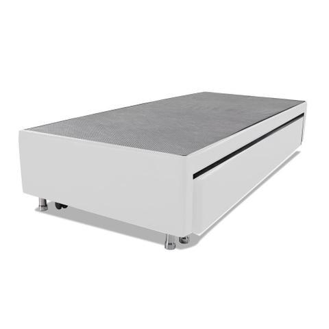 Imagem de Cama Box Solteiro com Auxiliar Mola Bonnel Sintético Branco 50x78x188