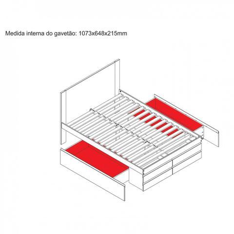 Imagem de Cama Casal Multifuncional Madeira Maciça 6 Gavetas Comfort Linha Comfort Inter Link Branco
