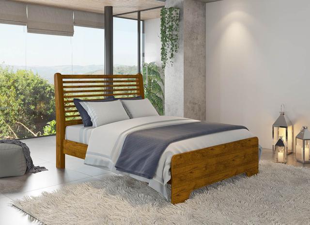 Imagem de Cama de Madeira Class Casal 138 Nature Com Colchão Americanflex D45 138x24