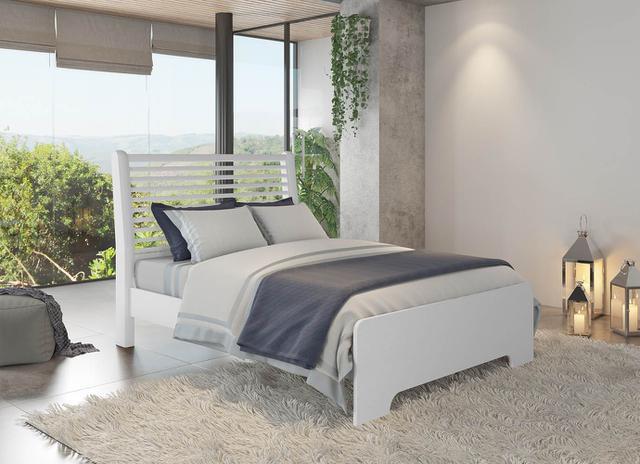 Imagem de Cama de Madeira Filadélfia Casal 138 Branco Com Colchão Americanflex D45 138x24