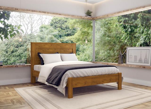 Imagem de Cama de Madeira Munique Casal Nature 138 Com Colchão Americanflex D45 138x24