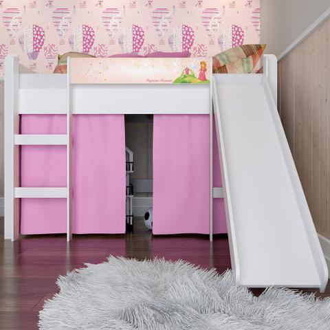 Imagem de Cama Infantil com Escorregador e Escada Lilies Móveis Rosa