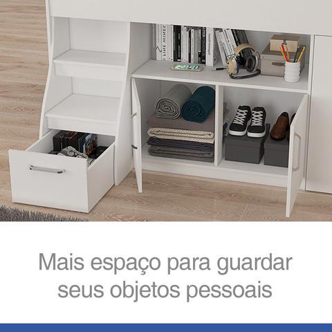 Imagem de Cama Infantil Multifuncional Alta com Armário Inferior Bianca Cimol Branco