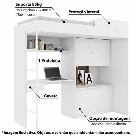 Imagem de Cama Multifuncional Luiza com Báu e Escrivaninha - Branco