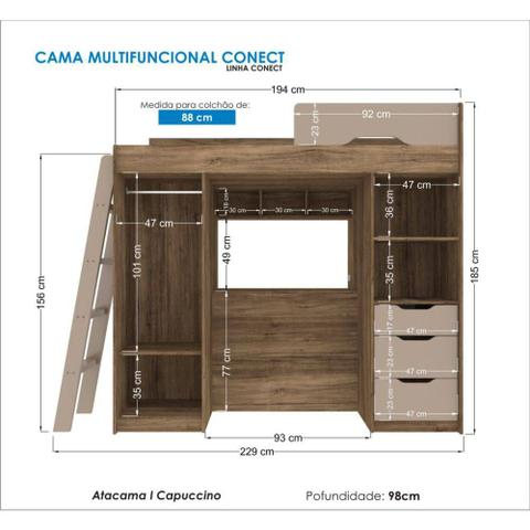 Imagem de Cama Multifuncional Solteiro Conect Atacama/Capuccino 100% MDF C/ Bau Santos Andirá