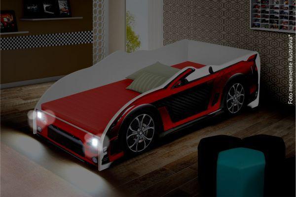 ac6ed0c67e Cama Solteiro Juvenil Carro Sport com LED - Vermelho - Divaloto ...