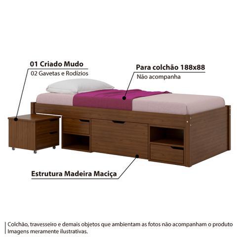 Imagem de Cama Solteiro Multifuncional Charme Criado, Nichos e Gavetas - Pinhão
