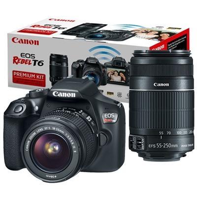 Imagem de Câmera Canon DSLR EOS Rebel T6 PREMIUM com Lente 18-55mm + 55-250mm