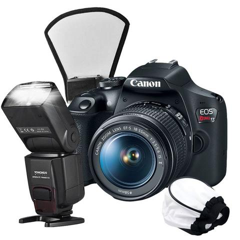 Imagem de Câmera Canon T7 + Flash Yongnuo TTL + Difusor Soft e Leque - Combo 7