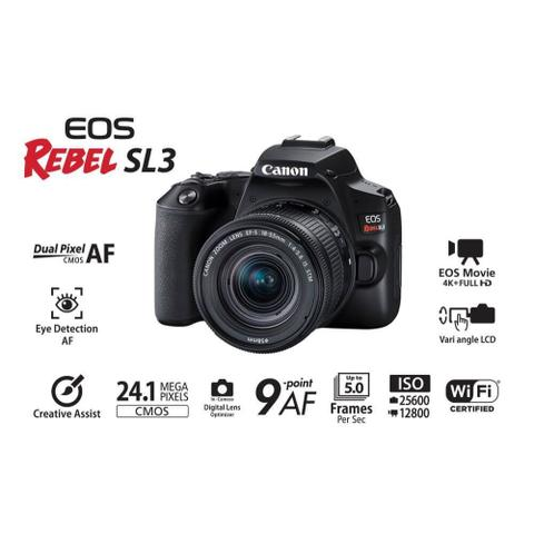 Imagem de Câmera DSLR Canon EOS Rebel SL3 PREMIUM KIT com lente 18-55mm IS STM + lente 55-250mm IS STM