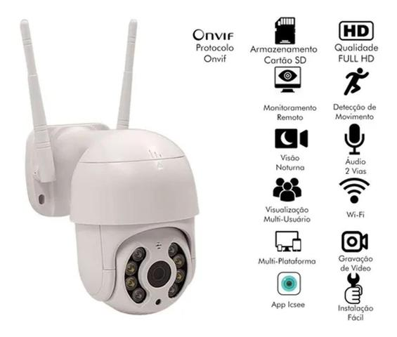 Imagem de Câmera Ip Icsee ptz speed dome Prova D'água Infravermelho Externa Wifi Hd - Smart Câmera