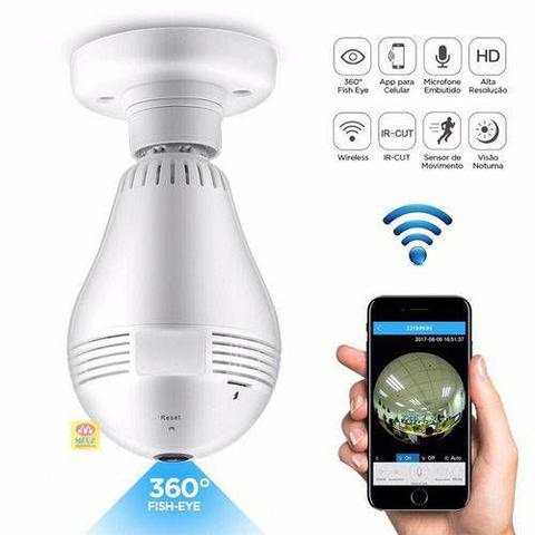 Imagem de Camera Ip Lampada Led 360 HD Panorâmica Wifi Celul 3g Espiã