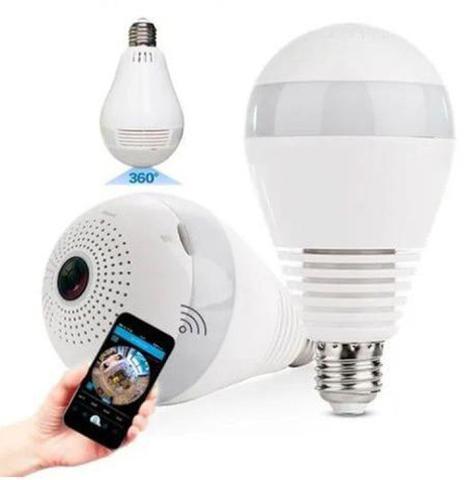 Imagem de Camera Ip Seguraca Lampada Vr 360 Panoramica Espia Wifi V380 - Vr Cam