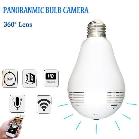 Imagem de Camera Ip Seguraca Lampada Vr 360 Panoramica Espia Wifi V380