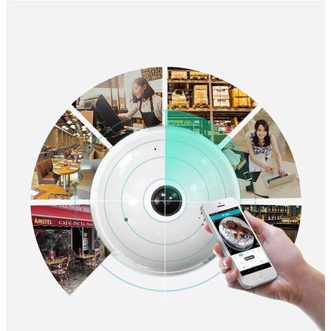 Imagem de Câmera Ip Segurança Lâmpada Vr 360 Panorâmica Espia Wifi V380