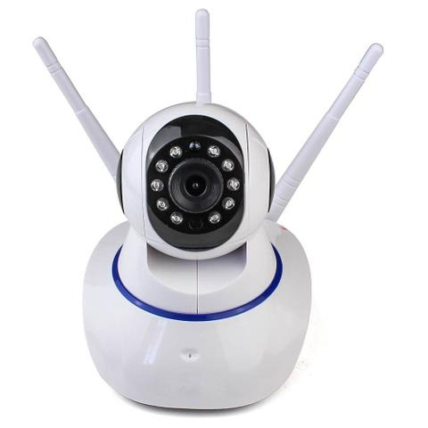Imagem de Câmera IP Sem Fio 360 3 Antenas HD WiFi RJ45 Visão Noturna Alarme - Luatek