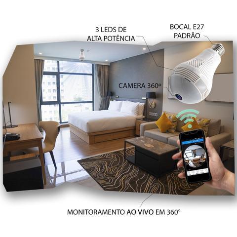 Imagem de Câmera Ip Wifi Segurança Lampada Espia Panorâmica 360 Led