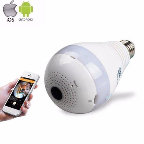 Imagem de Câmera Lâmpada Espiã Wifi HD Ip Led Panorâmica Vr 360º com Áudio