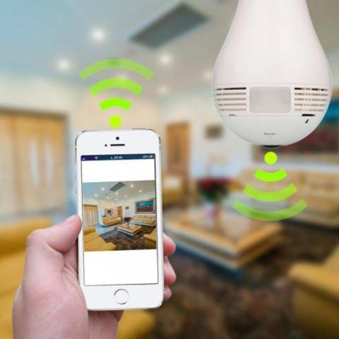 Imagem de Câmera Panoramica Formato Lampada IP Wireless HD Com Áudio e Visão Noturna V380