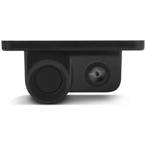 Imagem de Câmera Ré Colorida 2 em 1 Com Sensor de Estacionamento Suporte da Placa Universal Preta Entrada RCA