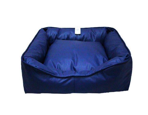 Imagem de Caminha Cama Pet Dupla Face Pequeno 55cm Tecido Couro Azul