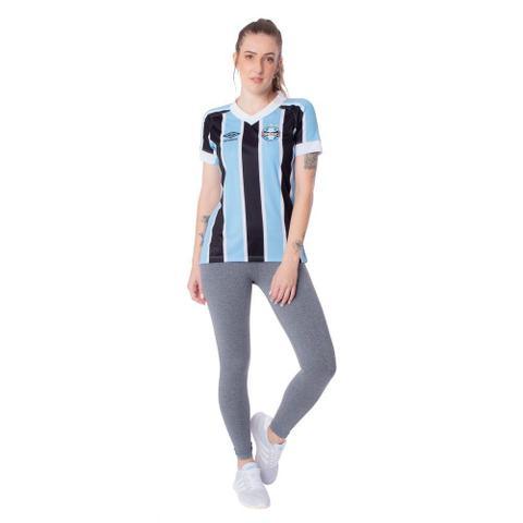 Imagem de Camisa Feminina Umbro Grêmio Oficial 1 2021 Azul Celeste/Preto