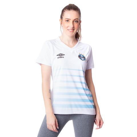 Imagem de Camisa Feminina Umbro Grêmio Oficial 2 2021 Branco/Azul