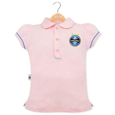 Imagem de Camisa gremio infantil polo feminina rosa tricolor oficial