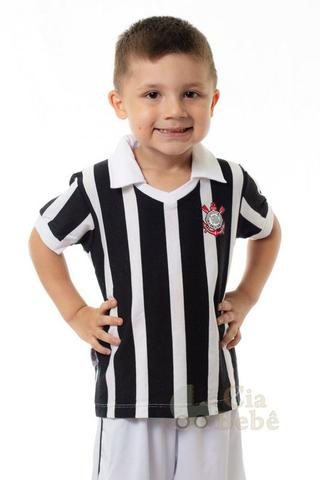 Imagem de Camisa Infantil Corinthians Preta Retrô Oficial