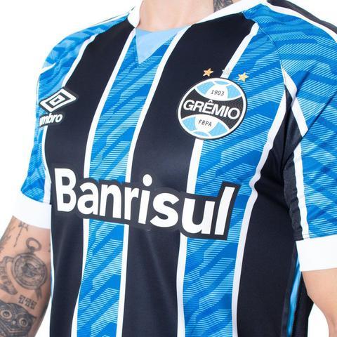 Imagem de Camisa Masculina Umbro Grêmio Oficial 1 2020 C/N 11 Azul/Preto