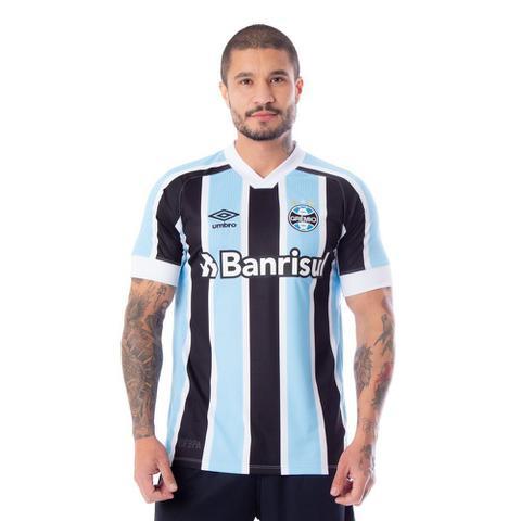 Imagem de Camisa Masculina Umbro Grêmio Oficial 1 2021 Número 10 Azul/Preto/Branco