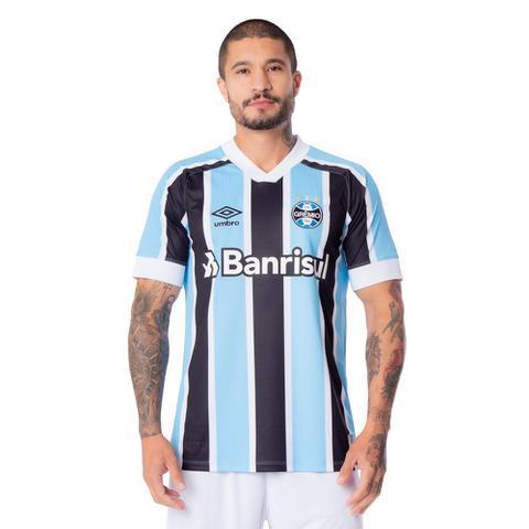 Imagem de Camisa Masculina Umbro Grêmio Oficial 1 2021 S/N Azul Celeste/Preto