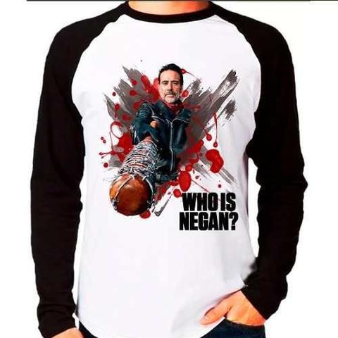 Imagem de Camiseta Blusa Raglan The Walking Dead Twd Who Is Negan