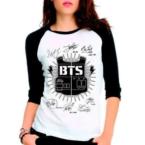 Imagem de Camiseta Feminina Bangtan Boys Bts Autografos Babylook 3/4