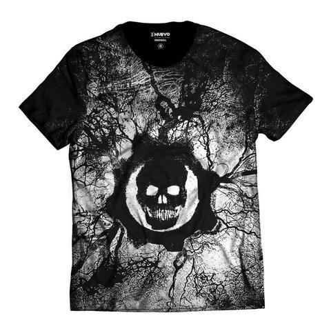 Imagem de Camiseta Gears of War Símbolo Caveira Branco e Preto