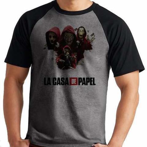 Imagem de Camiseta La Casa De Papel Mafia Serie Netflix Raglan Mescla
