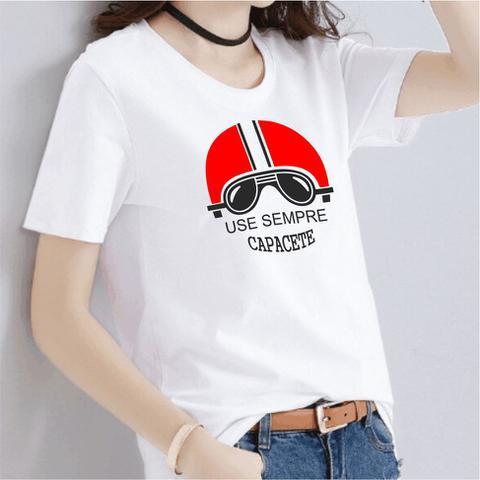Imagem de Camiseta moto use sempre capacete feminina