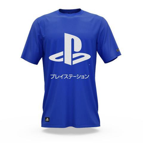 Imagem de Camiseta Playstation Katakana Cor Azul - Tamanho P