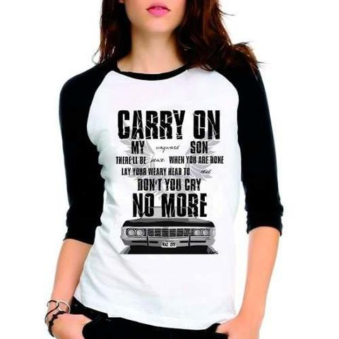Imagem de Camiseta Supernatural Spn Carry On Raglan Babylook 3/4