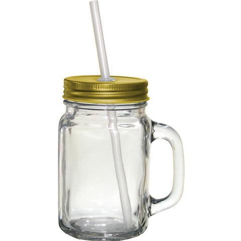 Imagem de Caneca de Vidro Mimo Style Retrô com Canudo e Tampa Dourada + Lousa e Giz