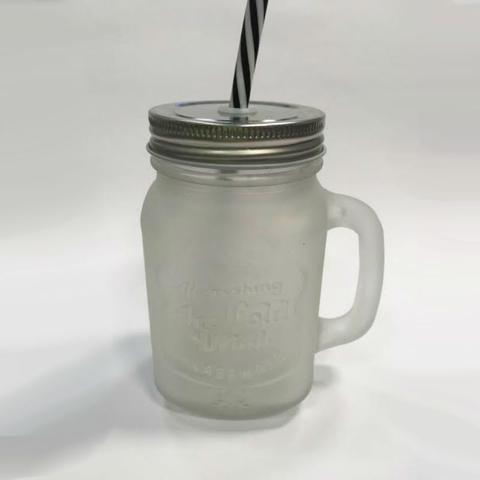 Imagem de Caneca Em Vidro Com Tampa E Canudo 450 ML Ice