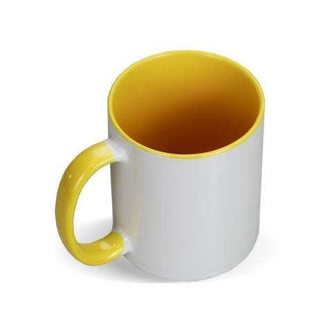 Imagem de Caneca p/ Sublimação Ceramica Branca c/ Alça Amarela - 6 Unid