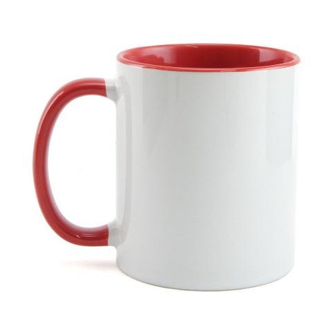 Imagem de Caneca para sublimação de Cerâmica Branca e Vermelha 01un
