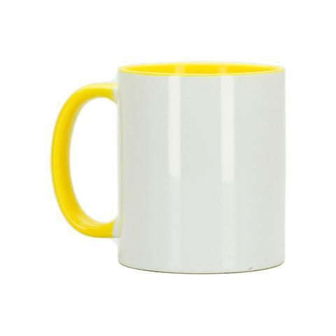 Imagem de Caneca para Sublimação de Cerâmica Resinada Branca com Alça e Interior Amarelo - 1 Unidade
