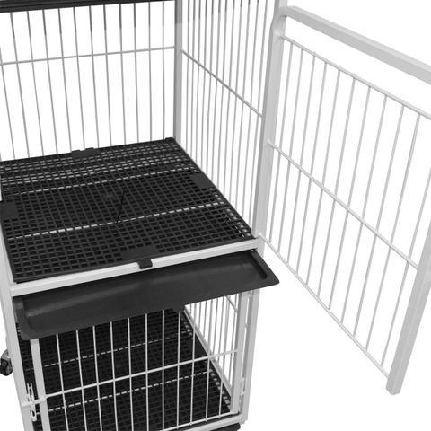 Imagem de Canil Para Pet Shop 3 Lugares Veterinária Gatil Gaiola Branco
