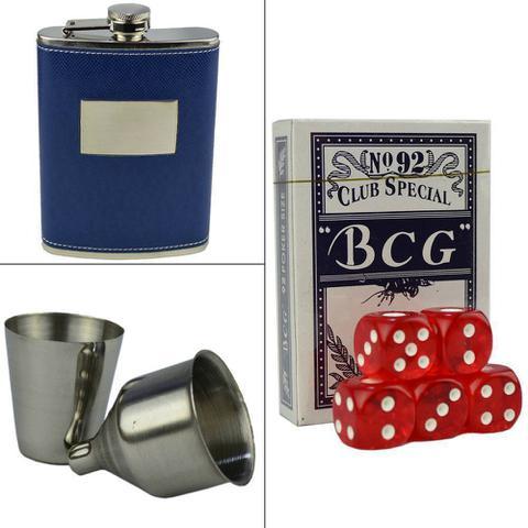 Imagem de Cantil De Bolso Porta Bebida Whisky Baralho Xadrez Luxo CBRN09053