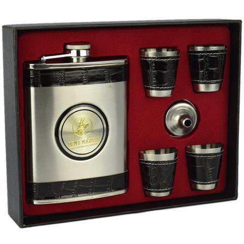 Imagem de Cantil De Bolso Porta Bebida Whisky Copos Prata CBRN113746