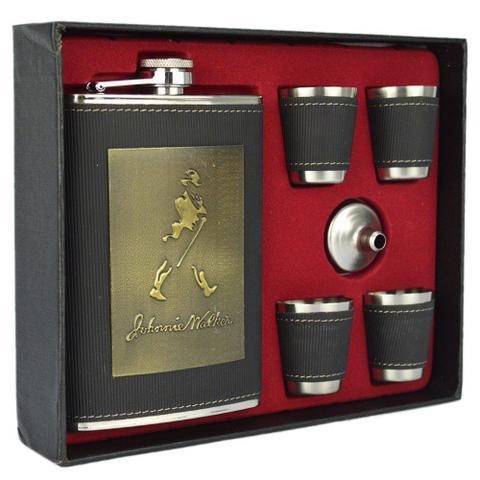 Imagem de Cantil De Bolso Porta Bebida Whisky Copos Preto CBRN113715