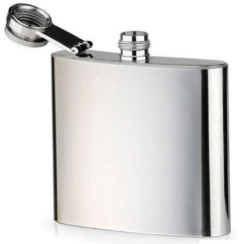 Imagem de Cantil De Bolso Porta Bebidas Aço Inox 240ml