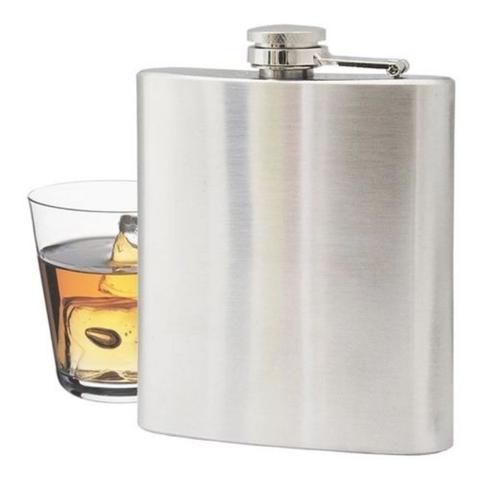 Imagem de Cantil Inox 210 Ml AÇO Bolso P/ Porta Bebidas Alcool Whisky